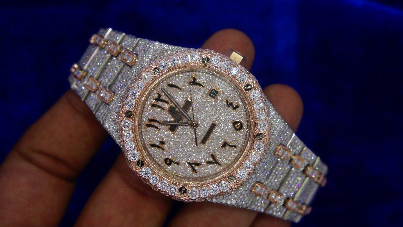 Audemars Piguet Steel Watch Big Diamond Bezel Arabic Diamond Dial Iced Out - watch picture 1
