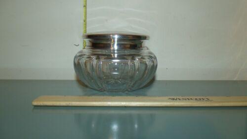 Antique Large Cut Glass Dresser Vanity Jar with 55 Gram Sterling  Silver Cover