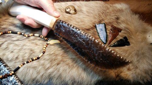 Red Ribbon Obsidian Flint Knapping Primitive Skinning Knife Shaman Athame Blade