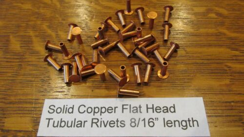 "SOLID COPPER TUBULAR RIVET 12 pcs. 8/16"" LEATHER RIVET SEMI TUBULAR not plated"