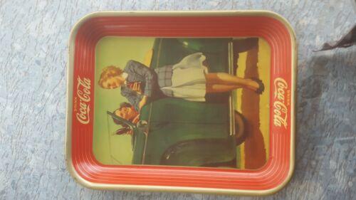 ANTIQUE ORIGINAL 1942 ROADSTER GIRL COCA-COLA SERVING TRAY