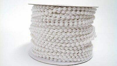 4mm Round Faux Pearl Beads - 4mm White Spool of Pearls Faux Round Beads Garland String Roll~100 FEET