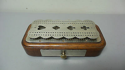 UNUSUAL 19th C. ANTIQUE TOOLED BRASS DOUBLE TIER CRIBBAGE BOARD ON WOOD CARD BOX