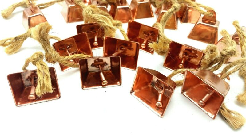 """10 Copper Plated COW BELLS Crafts  or Toys 1-1/4"""" H Rectangular 1109"""