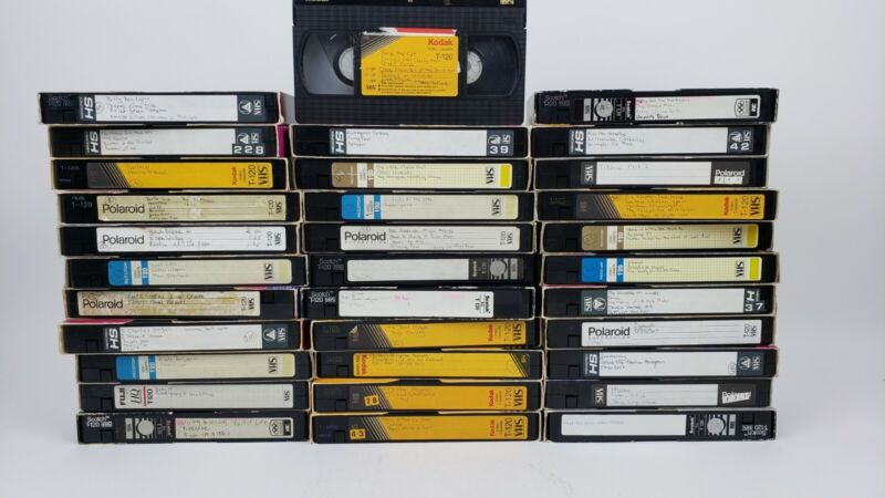 Lot of 33 Used Blank VHS Tapes TV, Movies, cartoons 90s 1990s. Sold as blanks