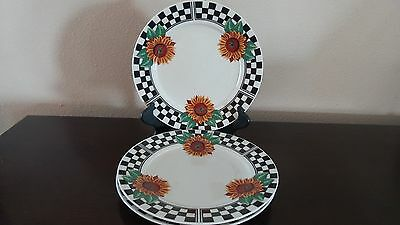 Tabletops Unlimited Sunny Dinner Plate X3 Sunflowers W  Checked Border