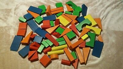Vintage 78 Large Jumbo Giant Colored Wooden Building Blocks - Jumbo Building Blocks