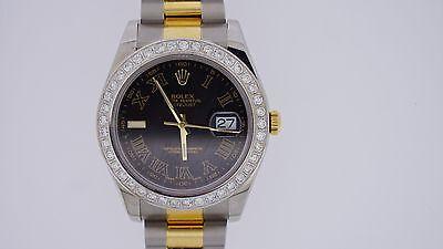 Unused Rolex Date Just II 2 41mm Oyster Steel & Gold  Watch 3 Cts Diamond Bezel
