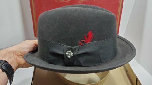 VTG DISNEY HATS NEW YORK BLACK FEDORA HAT W/BOX Lancer R.O.M.