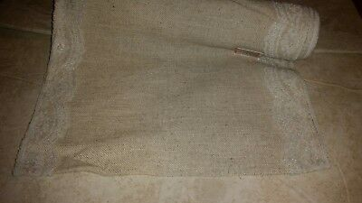 New Cream Burlap with lace table runner ](Burlap Table Runner With Lace)