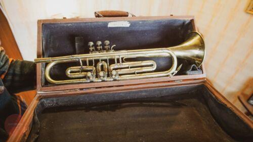 Vintage Original USSR Soviet Brass Musical Wind Instrument Trumpet