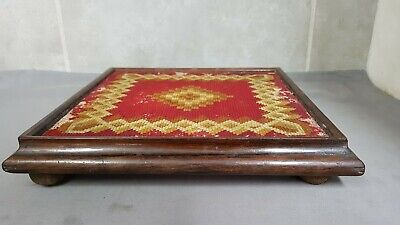 Large Antique Rosewood Tapestry Teapot Stand.   ref:xed