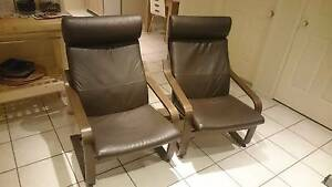 2 x IKEA POÄNG Armchair, leather Glose Robust dark brown Hoxton Park Liverpool Area Preview