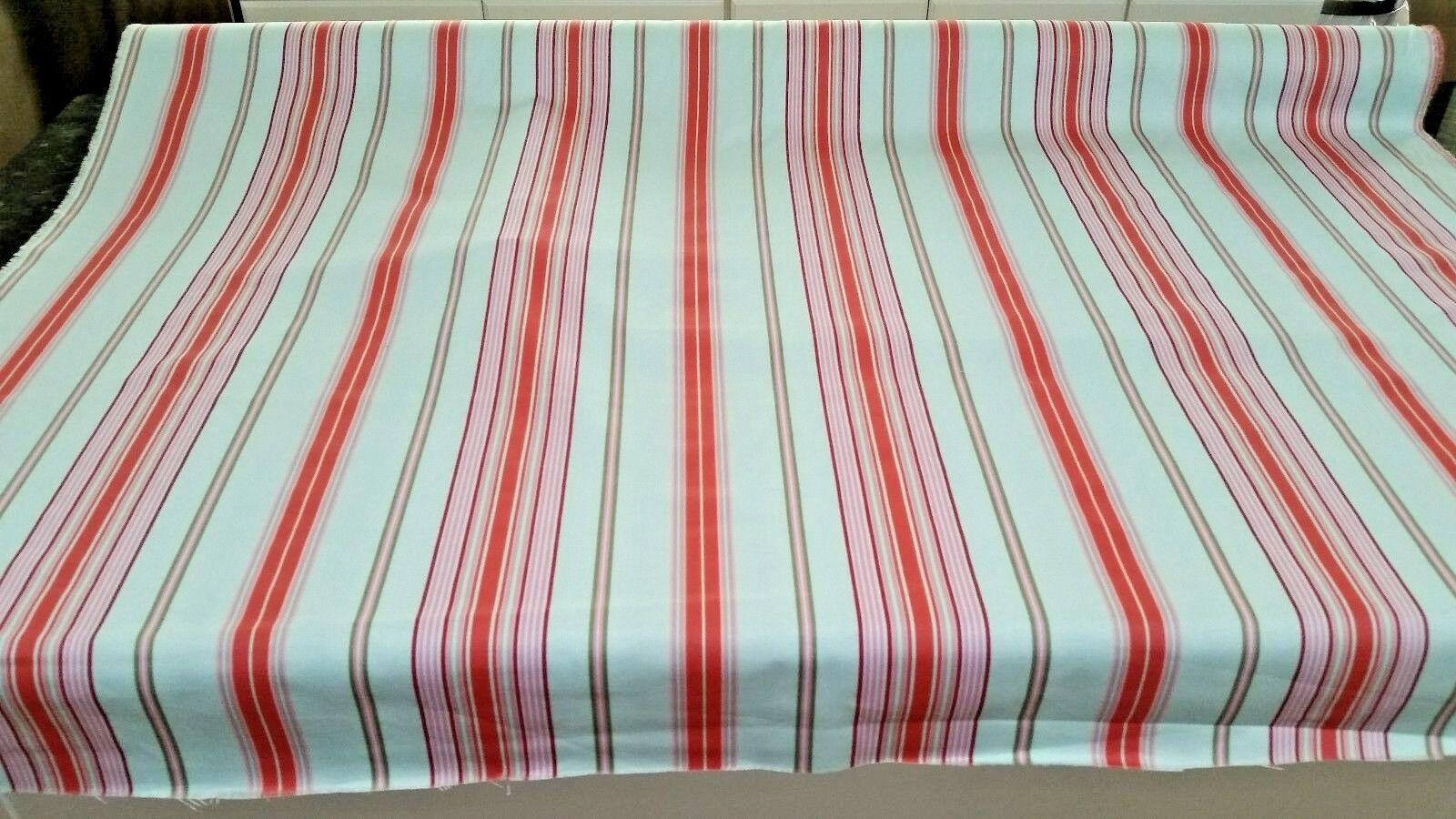 """Mulhouse Stripe baby blue/pink/red fabric 56"""" width NEW 14 y"""