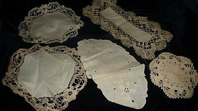 #821M vtg MIXED Lot  5 different SMALL Doilies Fabric & Crochet  for sale  Allenwood