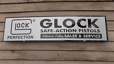 """MODERN STYLE GLOCK PISTOL/FIREARMS DEALER SIGN/AD 1'X46"""" ALUM. PANEL W/LOGO"""