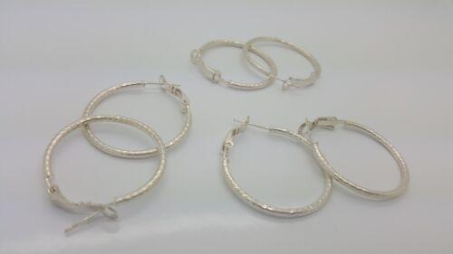 Lot of 3 Sterling Silver 925 medium hoop earrings solid plain style