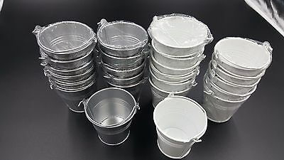 24  New Mini Pail Bucket 12 Galvanized Silver & 12 White - Mint/Favor - Galvanized Buckets Wholesale