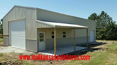Pole Barn Kit 30x50x14 With Steel Trusses 10x20 Porch