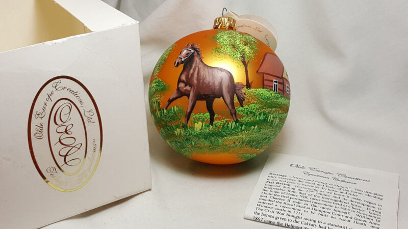 Olde Old Europe Creations Equestrian Collection painted Horse Ball Ornament NIB