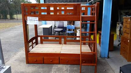 QUALITY STRONG SOLID TIMBER SINGLE BUNK BED+LADDER+3 X DRAWER