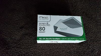 MEAD SECURITY ENVELOPES, 80 COUNT. WHITE, PRINTED LINING FOR PRIVACY - 3 5/8 BY