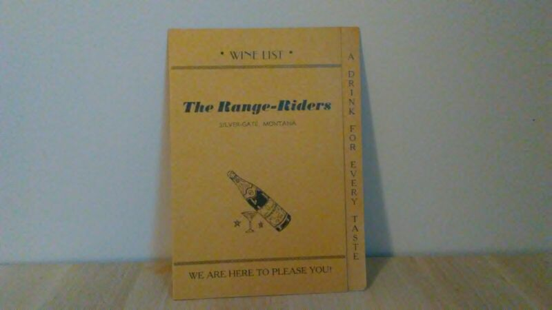 Vintage 1950s WINE BEER SPIRITS MENU THE RANGE RIDERS HOTEL Silver Gate MONTANA