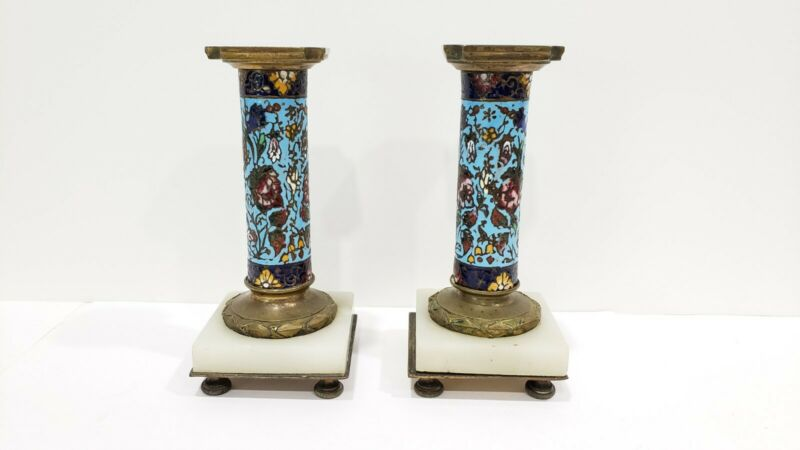 A Pair Antique French Bronze Champleve Cloisonne and Alabaster  Candlesticks