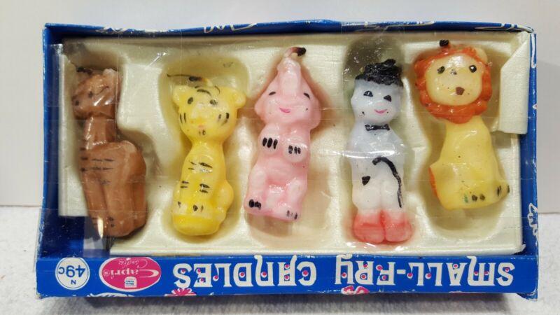 Vintage Capri Birthday Candle Circus Animal Set In Box!(B)