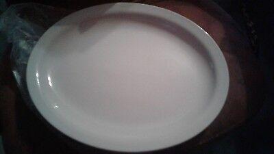 12 Oneida Ivory Cream White Oval Narrow Rim Platter elegant dinnerware 13 1/4