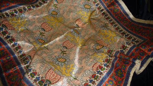 """#825AA  Antique vtg TEXTILE REMNANT PRINTED Piece ASIAN ? FABRIC   22"""""""
