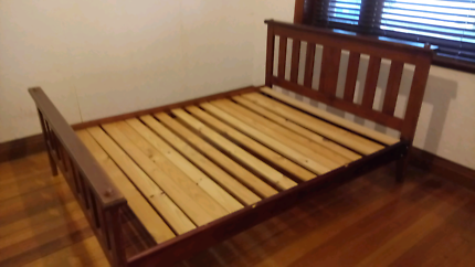 Queen sized bed,  study timber frame