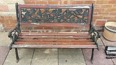 2 SEATER GARDEN BENCH WOODEN & CAST IRON BACK PARK SEAT ROSE DESIGN ORNATE