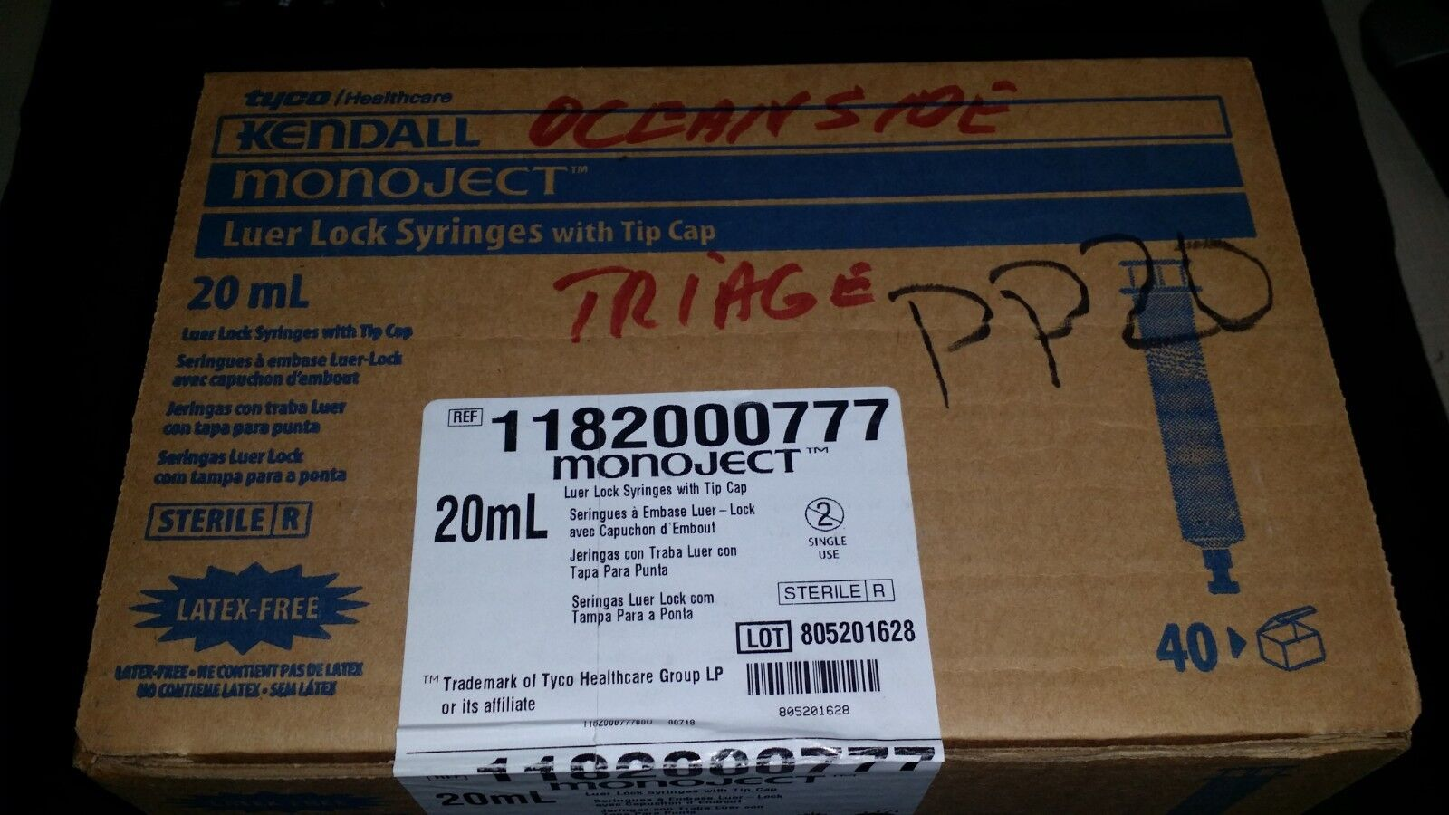 BOX 40 KENDALL MONOJECT 1182000777 LUER LOCK SYRINGES WITH T