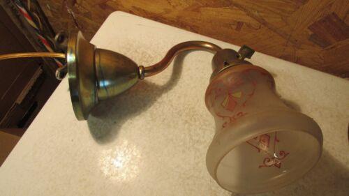 Antique Brass Wall Light & Art Nouveau Shade