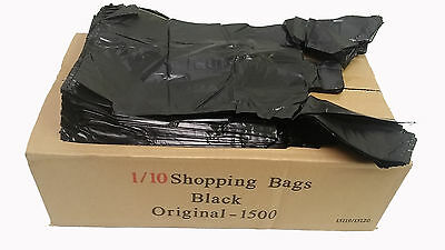 1500ct T-Shirt Black Plastic Bags Retail Grocery Store Shopping Carry Out Waste - Black Shopping Bags