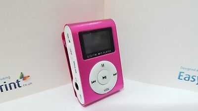 Mini MP3 player LCD screen,Pink,bundle with accessories-Fast Despatch