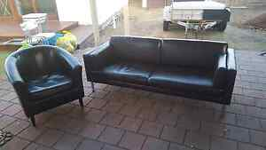 Brown 2 seater lounge & tub chair Alberton Port Adelaide Area Preview