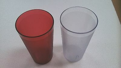 1 Dozen 12 Oz Restaurant RED / CLEAR Plastic Pebbled Tumbler Cup Dishwasher Safe (Plastic Tumbler Cups)