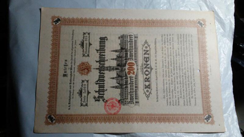 AUSTRIA 1892 NINETY YEAR 4% DEBENTURE 200 KRONEN BOND CERTIFICATE