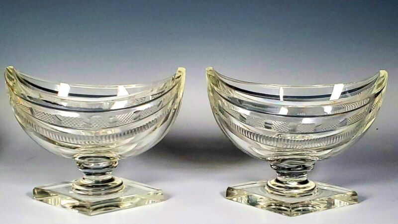ANTIQUE PAIR CUT GLASS CRESCENT SHAPED MASTER SALTS SMOOTH PONTIL