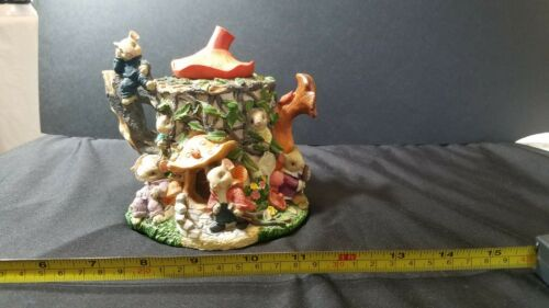 "6"" ARTISANN FLAIR MOUSE MICE FAMILY MUSHROOM TEAPOT HOUSE RESIN COIN PIGGY BANK"