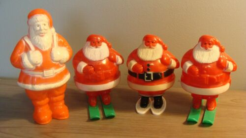 Vintage lot of Rosbro & Irwin Plastic Santas (4), Skiis, Showshoes etc