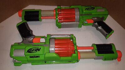 2 NERF Dart Tag Green Fury Fire Blaster Guns 10 Dart Revolver