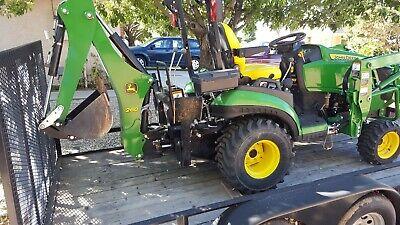 John Deere 1025r Sub-compact Utility Tractor 2016 Backhoe Front Loader Trailer