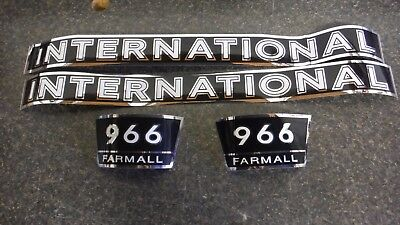 International Farmall 966 Decals. Black Chrome. Hood And Numbers. C-details