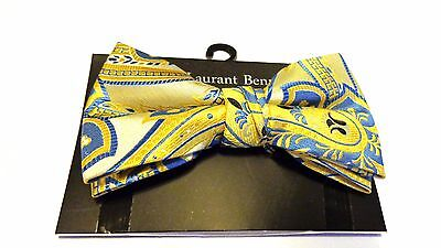 MENS BOW TIE PAISLEY YELLOW AND BLUE BOWTIE  PRE-TIED BOW WITH CLIP