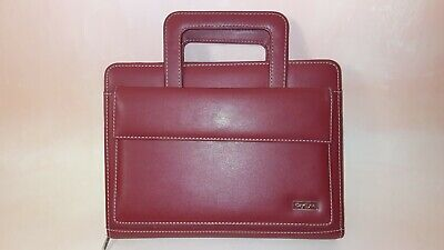 Franklin Covey Day One Red Simulated Leather Zip Binder Planner Organizer Handle