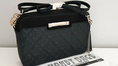 RIVER ISLAND Black RI Monogram Boxy Crossbody Bag BNWT
