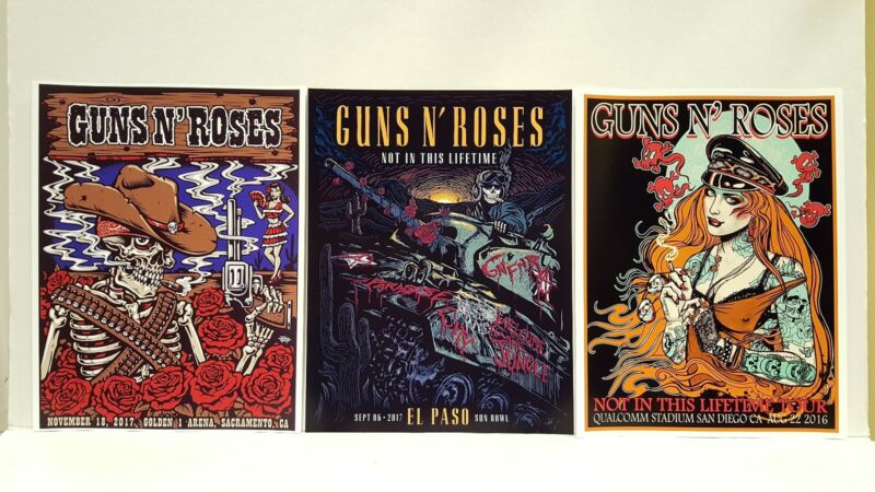 Guns N Roses Lithograph Sacramento San Diego CA El Paso Texas lot Reprint and